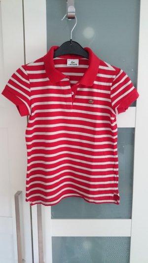 Lacoste Polo Shirt rot weiß/creme gestreift Gr. 34 (UVP 89,90 €)