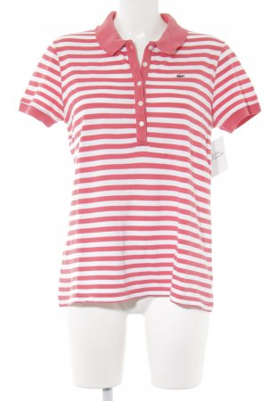 Lacoste Polo shirt wit-zalm gestreept patroon casual uitstraling
