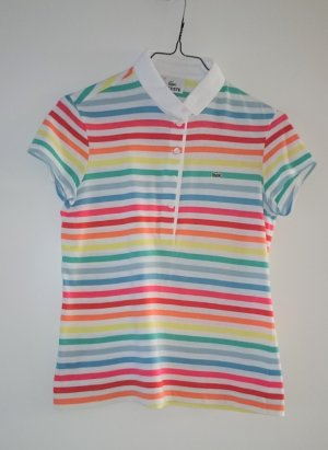 Lacoste Polo Shirt Weiß Multicolor gestreift Gr. 34 - 36