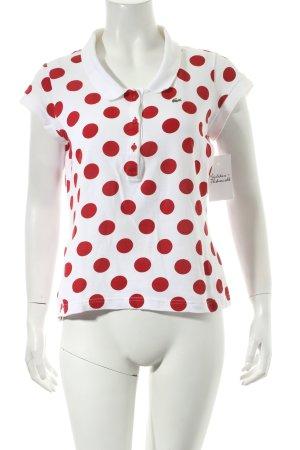 Lacoste Polo-Shirt weiß-rot Punktemuster sportlicher Stil