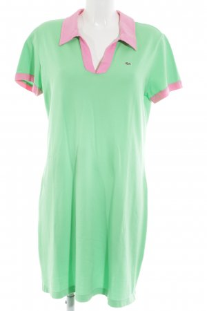 Lacoste Polo Dress green-pink embroidered lettering casual look