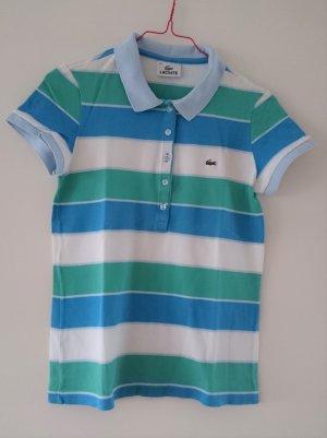 Lacoste Poloshirt kurzarm gestreift weiß blau türkis Gr. 36