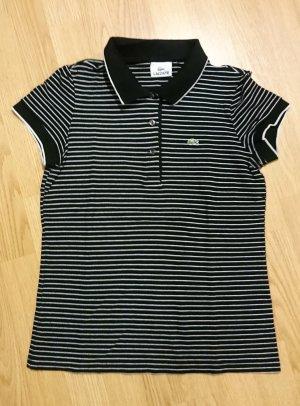 Lacoste Poloshirt Polo kurzarm schwarz weiß gestreift Slim Fit Gr. 36 (FR) Gr. 34 (DE)