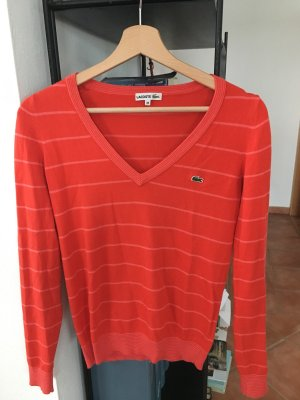 Lacoste Pullover rot weiß 36 S Strick Pulli 38