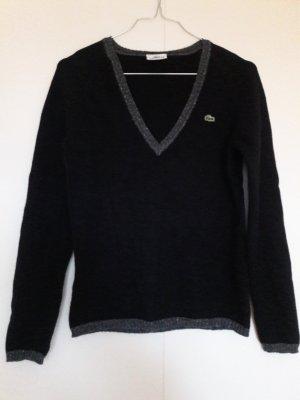 Lacoste Pullover schwarz silber grau V-Ausschnitt Leinen Kaschmir Gr. 36
