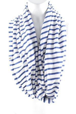 Lacoste Écharpe ronde blanc-bleu motif rayé style décontracté