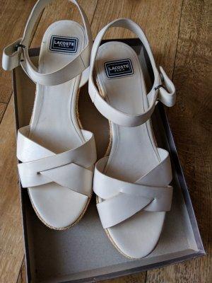 Lacoste Sandales à talons hauts et plateforme blanc cassé-blanc cuir