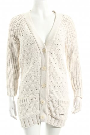 Lacoste Strick Cardigan creme Lochstrickmuster Casual-Look