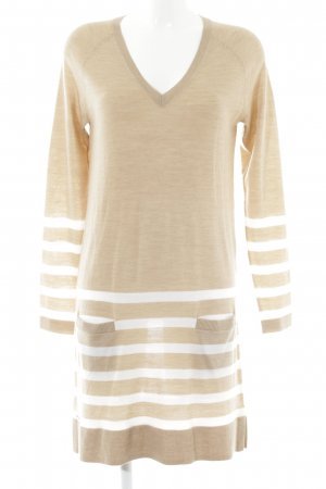 Lacoste Strickkleid beige-wollweiß Streifenmuster Casual-Look