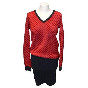 Lacoste Strickkleid, Kleid, Wolle, Rot und Schwarz, Gr. 38
