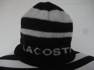 Lacoste Strickmütze schwarz/weiß