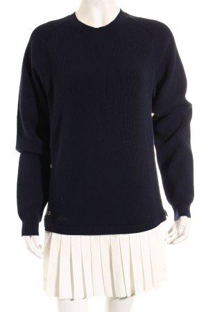 Lacoste Strickpullover dunkelblau-weiß Lagen-Look
