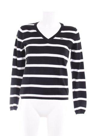 Lacoste Strickpullover schwarz-weiß Streifenmuster Casual-Look