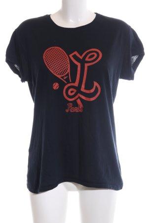 Lacoste T-Shirt blau-rot Schriftzug gedruckt Casual-Look