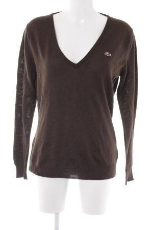 Lacoste V-Ausschnitt-Pullover dunkelbraun Casual-Look