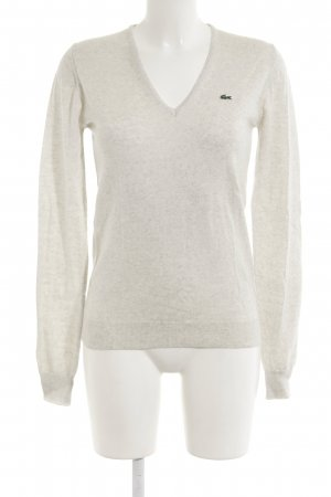 Lacoste V-Ausschnitt-Pullover hellbeige Casual-Look