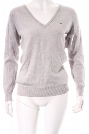 Lacoste V-Ausschnitt-Pullover hellgrau klassischer Stil