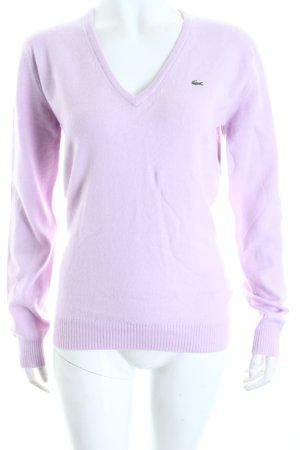 Lacoste V-Ausschnitt-Pullover hellrosa Casual-Look