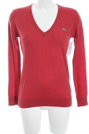Lacoste V-Ausschnitt-Pullover karminrot Casual-Look