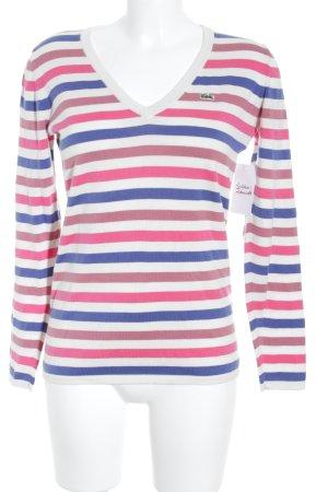 Lacoste V-Ausschnitt-Pullover Ringelmuster Casual-Look