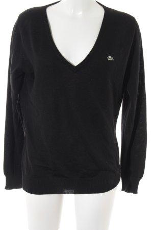 Lacoste V-Ausschnitt-Pullover schwarz Casual-Look