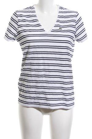 Lacoste T-shirt col en V blanc-noir motif rayé style décontracté