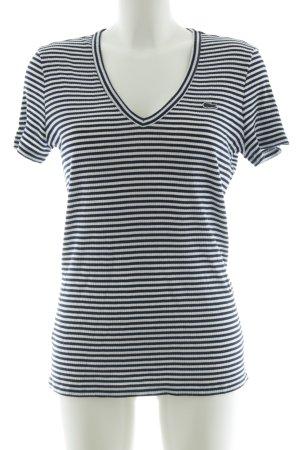 Lacoste T-shirt col en V noir-blanc motif rayé style décontracté