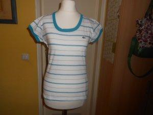 Lacoste- weiß-türkis geringeltes T-Shirt Gr. S