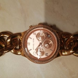 Ladies MK-3247 Rose Gold Runway Chronograph Watch