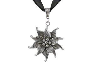 Ladinelle Damen Amazon Schmuck Halskette Trachtenschmuck Organza Schwarz
