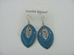 Ladinelle Exklusiv Silber Emaille Blau Kristall Ohrringe mit Silikonstopper NEU&OVP %%% AUSVERKAUF Weihnachten Geschenk