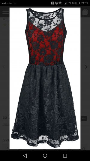 Lace Dress black-red polyester