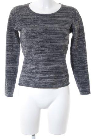 Lady Mei Pull en crochet gris foncé-blanc cassé motif rayé