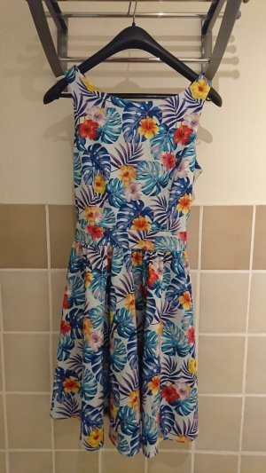 Lady V by Lady Vintage TopVintage exclusive ~ 50s Tea Tropical Leaves Swing Dress in Light Blue