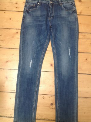 Boyfriend Jeans steel blue mixture fibre