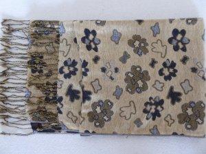 länglicher, brauner Schal mit floralem Grafikmuster