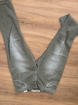 Pantalon boyfriend vert foncé-kaki