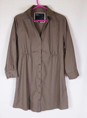 Lässig Long Bluse Hemdbluse Madonna Größe S 36 Khaki Militär Braun Grau Grün Minikleid Blusenkleid 3/4 Arm Oversize