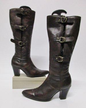 Lässig Western Stiefel Schnallen Janet D. Größe 37 echt Leder Braun Dunklelbraun Patina Weitschaft Spitz Boots