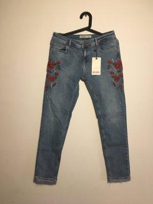 Zara Jeans bleu-rouge foncé