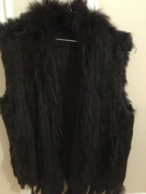 Fur vest brown-bronze-colored fur
