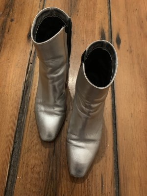 aeyde Booties silver-colored leather
