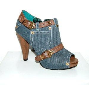 lässige - Damen - Jeansstiefelette Peeptoes - blau von Jumelles - Gr. 37