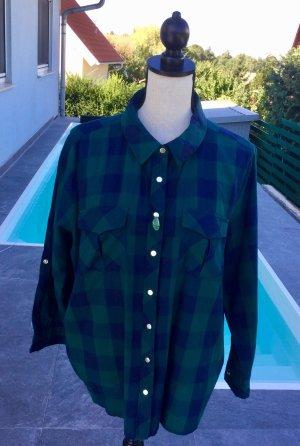 100% Fashion Blouse à carreaux bleu foncé-vert foncé