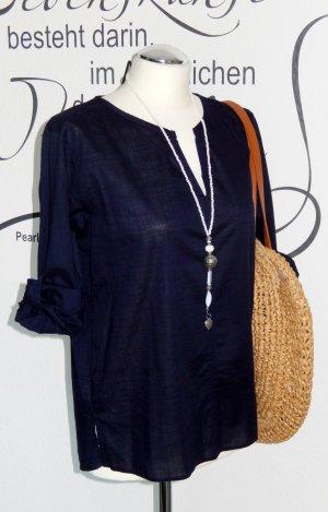 Lässige, dunkelblaue Tunikabluse mit 3/4-Ärmeln (turn-up Funktion, 100% Baumwolle) - Neuwertig! - Fällt eine Nr. größer aus