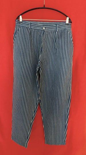 Mes Demoiselles Pantalón de pinza alto azul neón-blanco Algodón