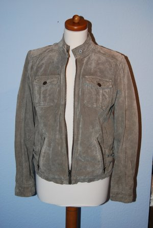 Tom Tailor Leather Jacket green grey-grey suede