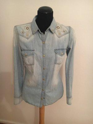 Zara Trafaluc Blouse en jean bleu pâle-bleu clair