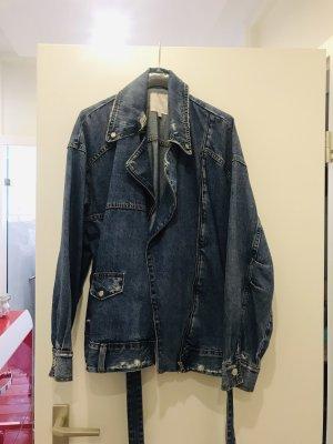 Zara Woman Veste en jean bleu acier-bleu foncé