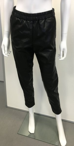 H&M Boyfriend Trousers black imitation leather